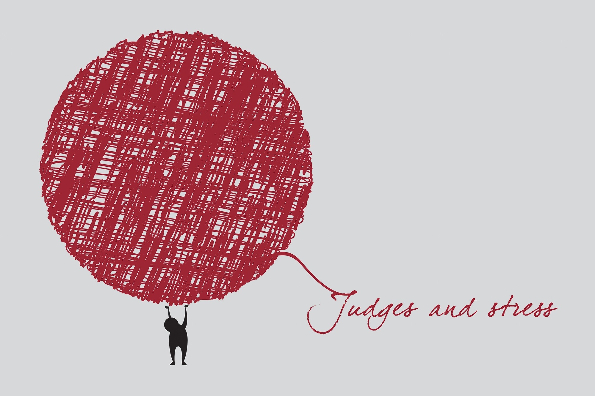 Judges and Stress written with string unraveling from ball of yarn