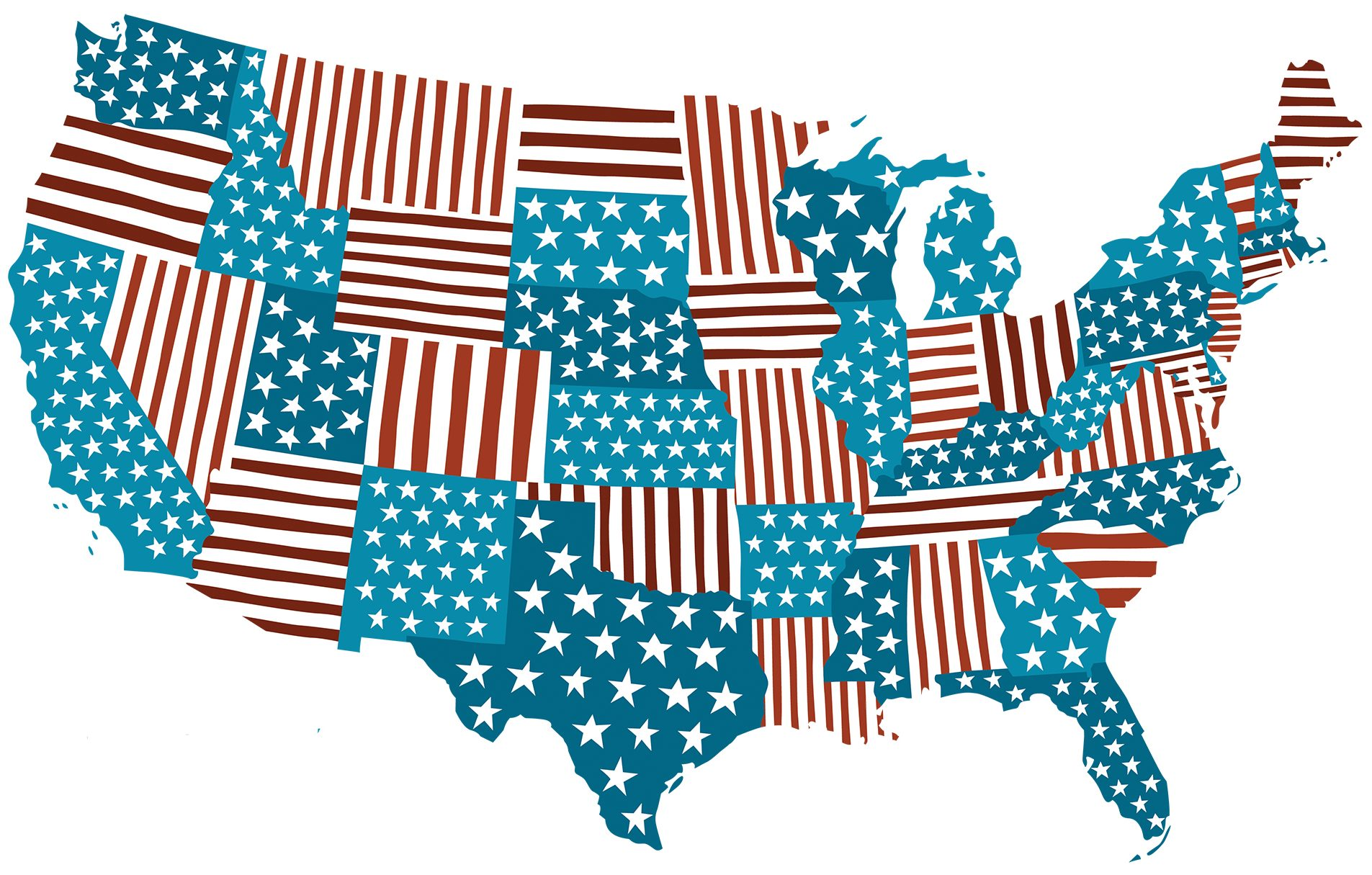 United states depicted as a stars and strips quilt