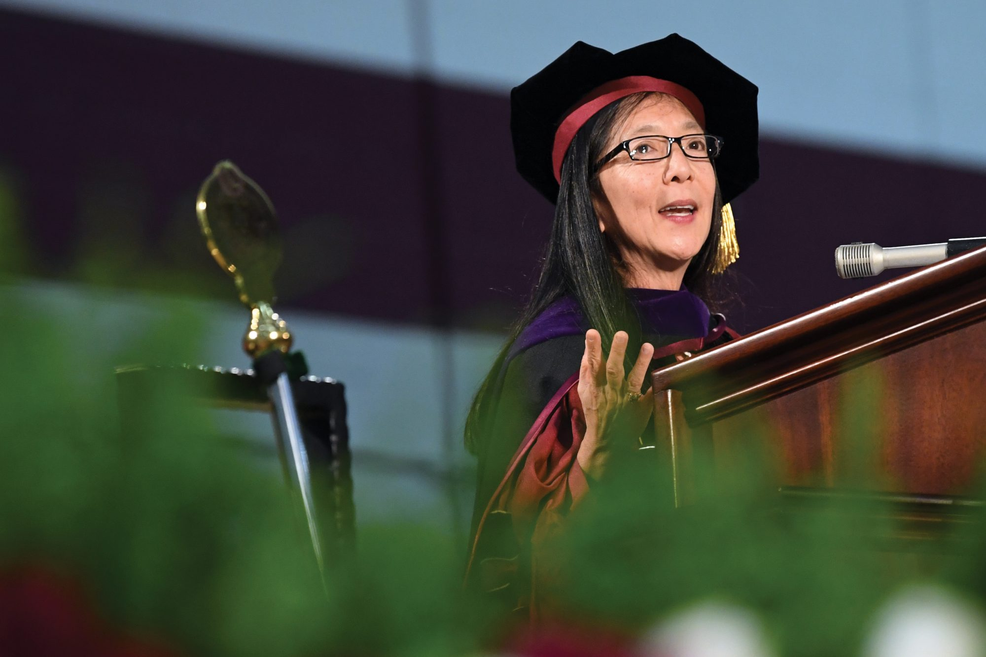 Judge Pamela Chen speaking at a graduation ceremony