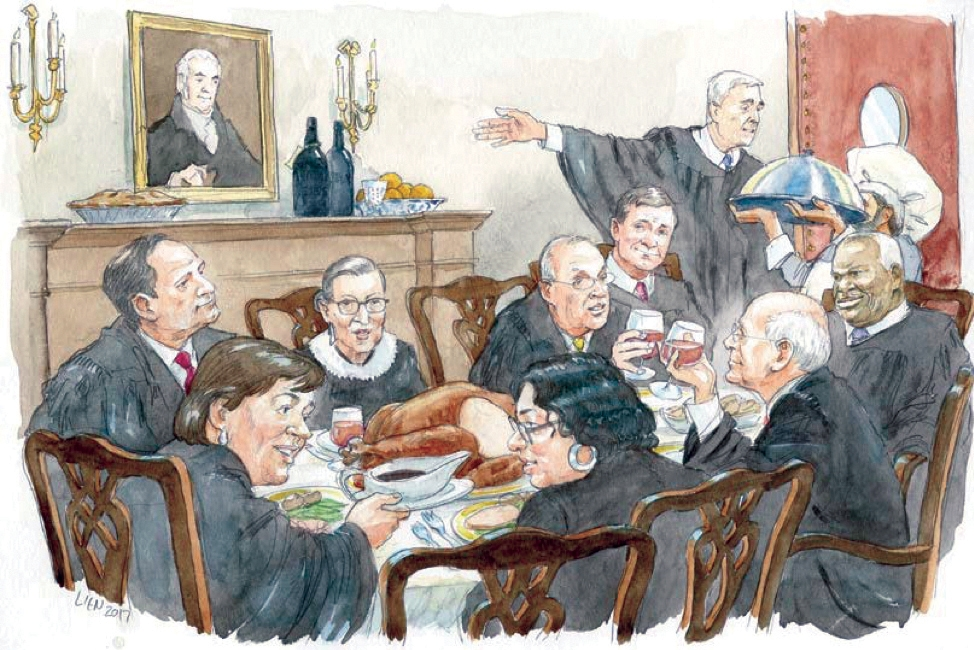 Sketch of Supreme Court Justices eating lunch together