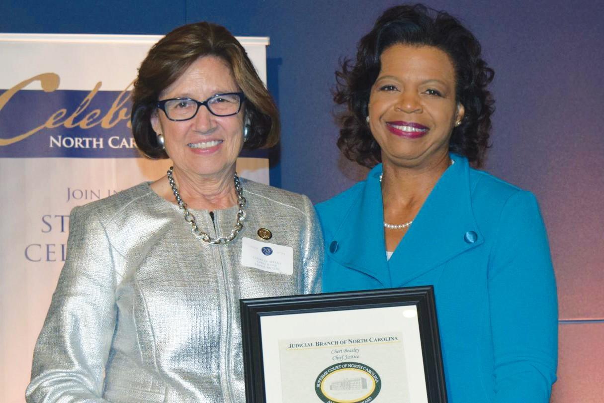 Justice Cheri Beasley with Linda McGee photo