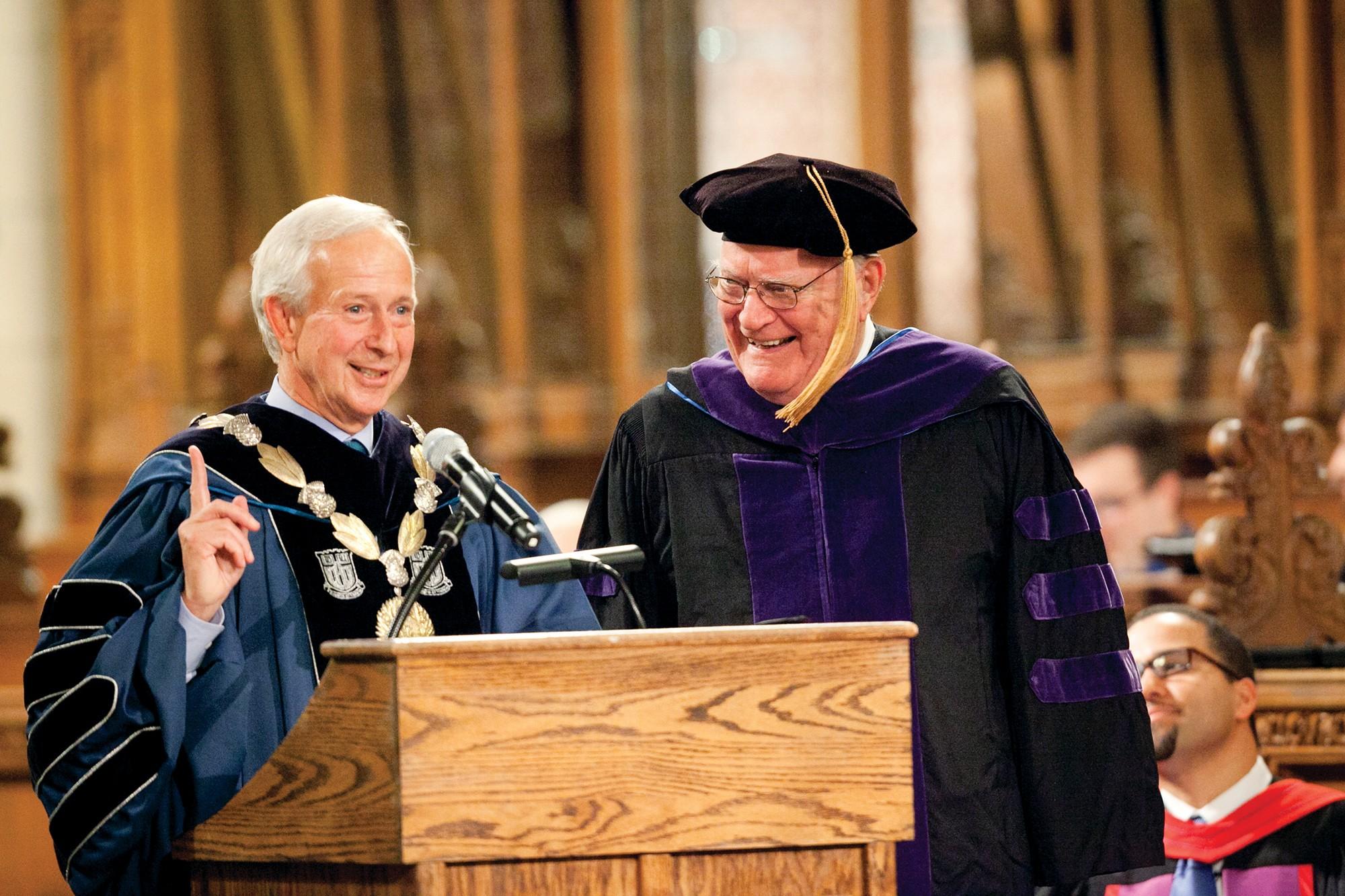 Judge Tjoflat receiving an award at Duke University Chapel