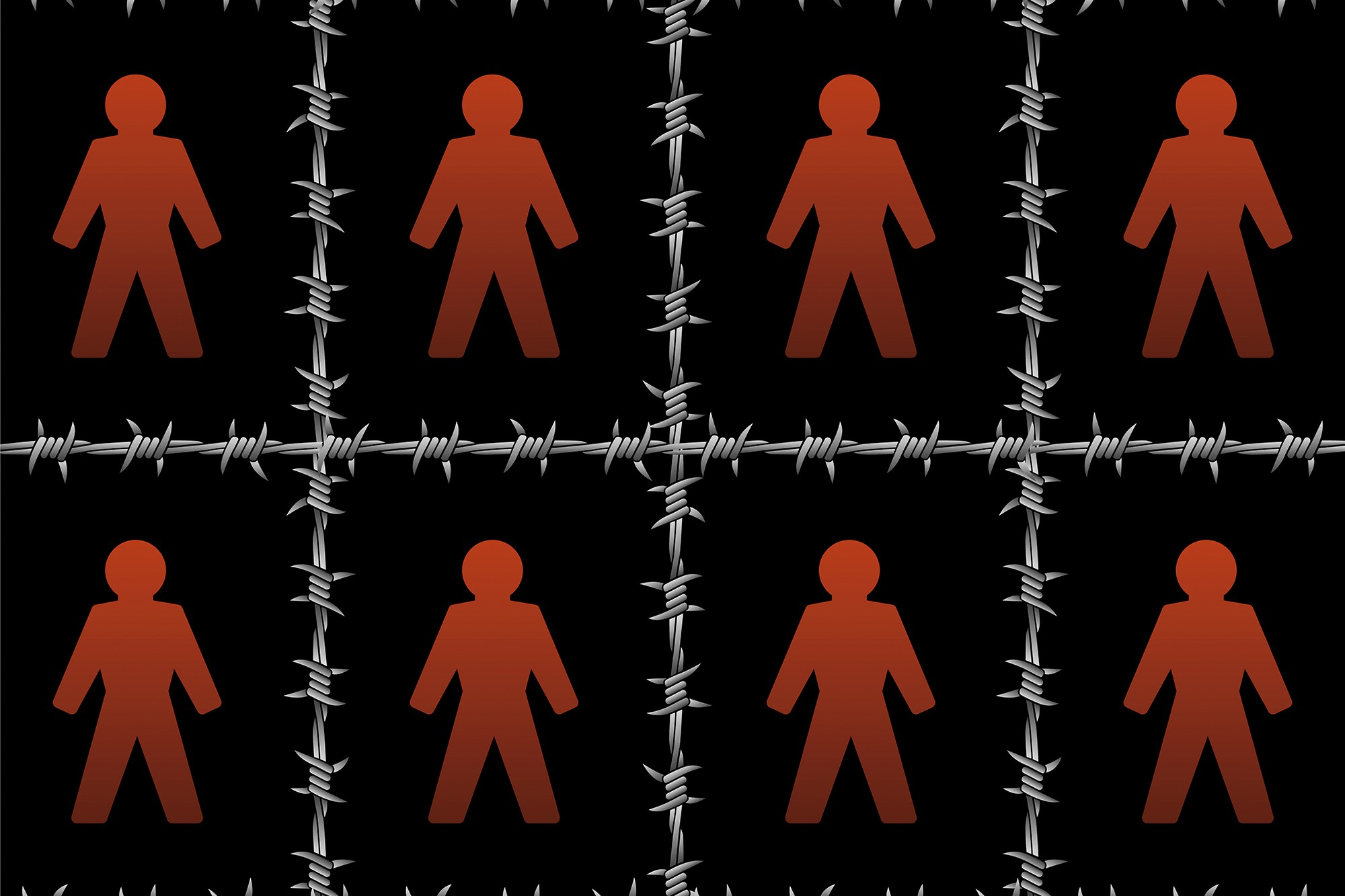 Cut outs of people in the center of barbed wire