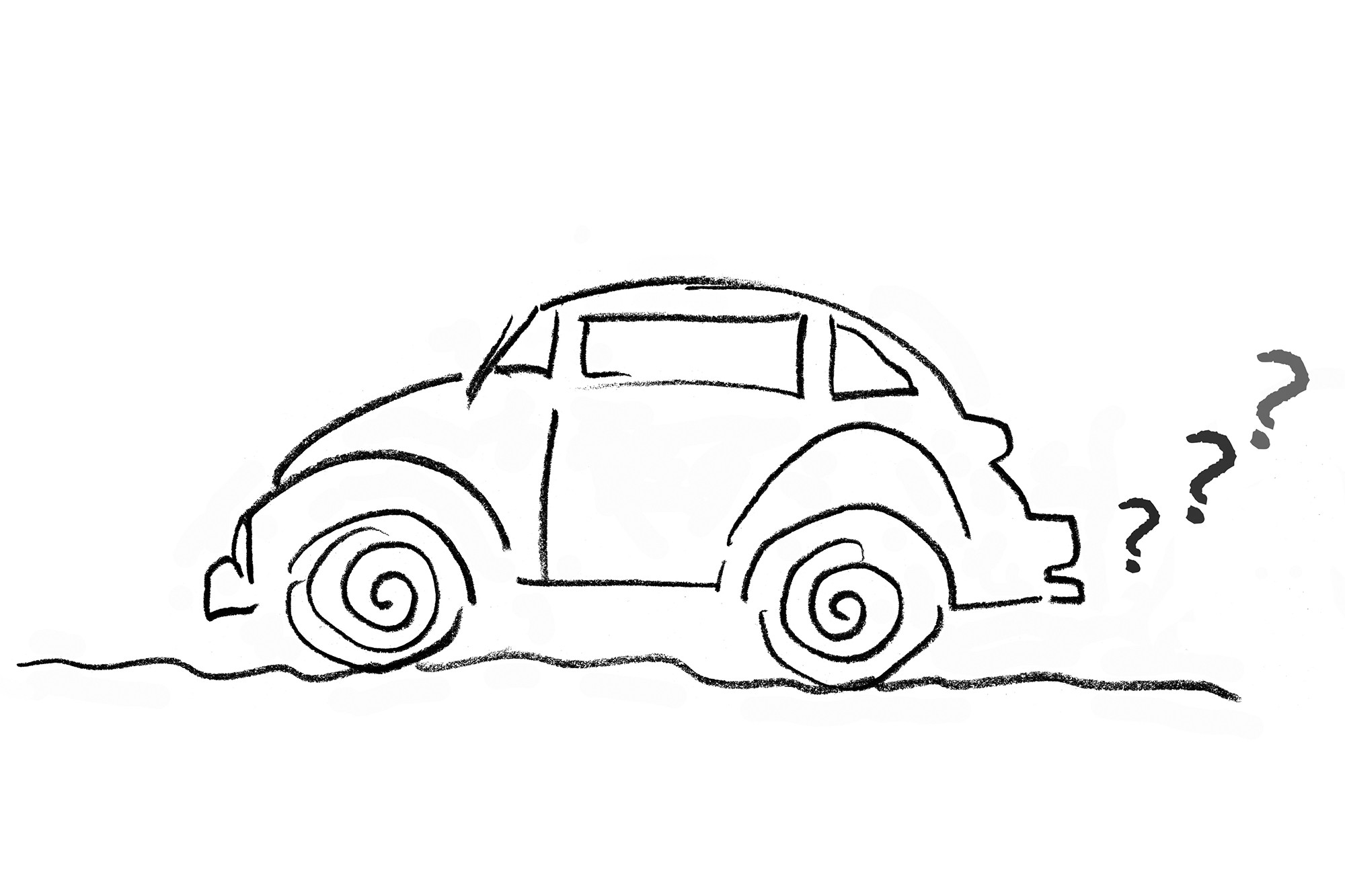 Sketch of VW Bug with Questions Marks coming out of tailpipe